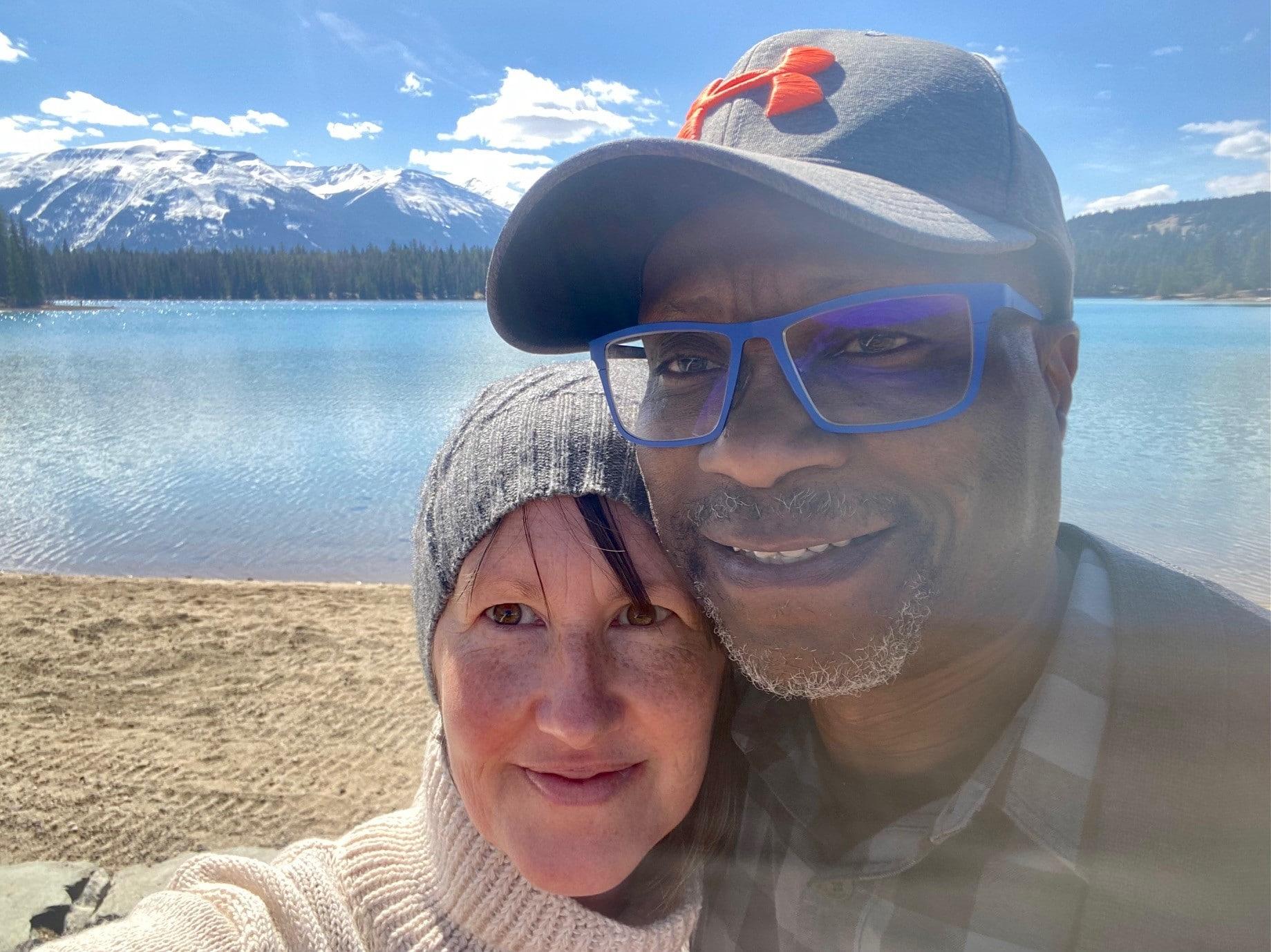 Krista and her husband Georges in Jasper, Alberta.
