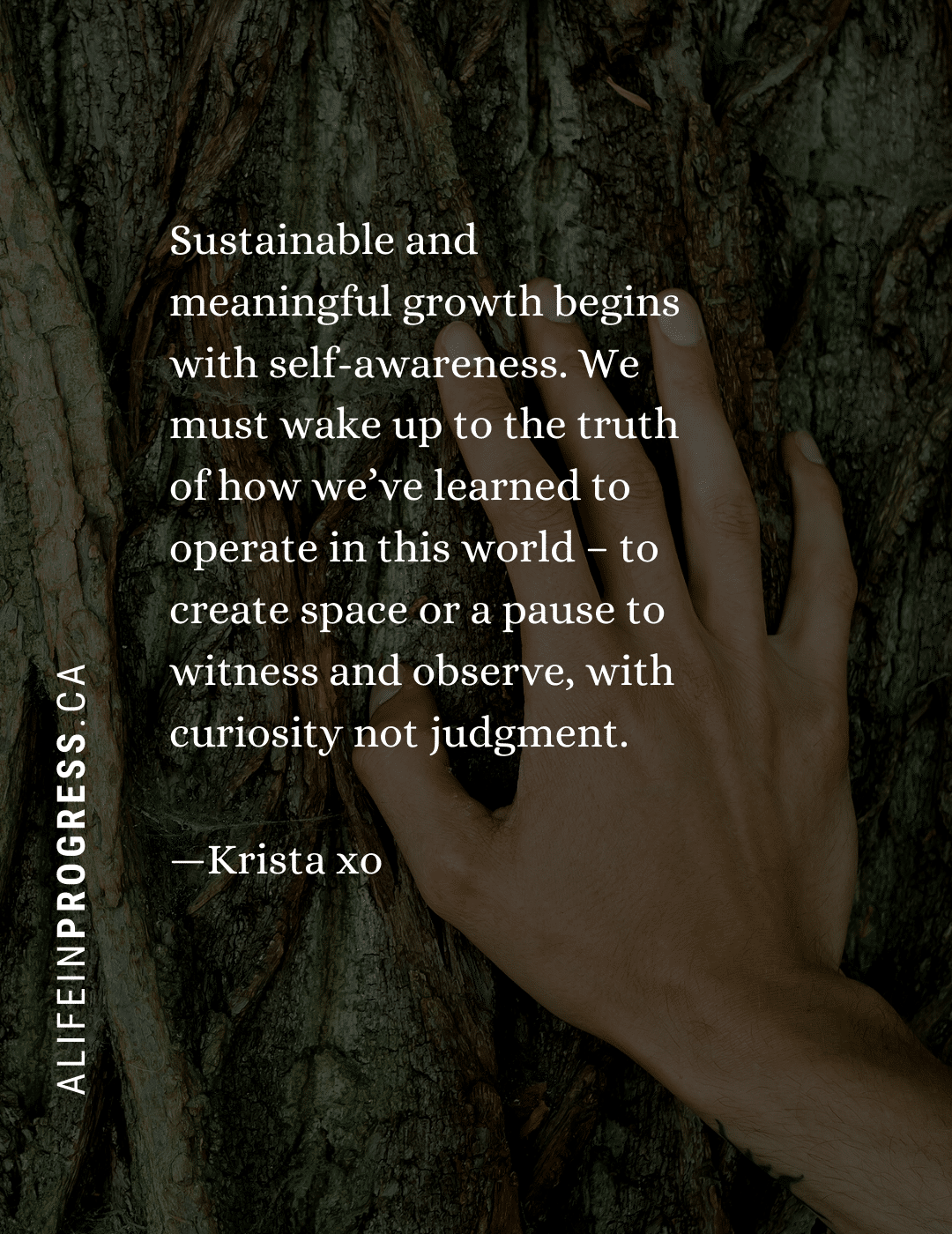 """A picture of a female hand touching the bark of a tree with the following quote, """"Sustainable and meaningful growth begins with self-awareness. We must wake up to the truth of how we've learned to operated in this world - to create space or a pause to witness and observe, with curiosity not judgment. -- Krista xo A Life in Progress dot CA"""